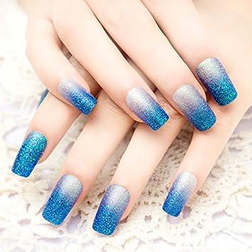 Amazon Yunai 24pcs Set Blue Glitter Gradient Long Fake Nail