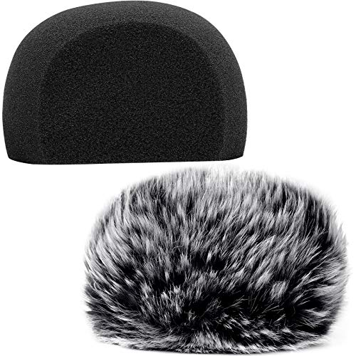 ChromLives Windscreen Microphone Wind Muff, Foam Wind Screen Wind Cover Compatible with Zoom H5 H6 Portable Handy Recorder Furry & Foam 2Pack