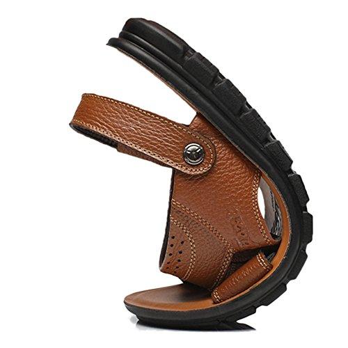 Uomo Suola Brown Morbidi Slippers Antiscivolo Size Outdoor Plus Infradito Pelle Swimming Toes Open Sandali Estiva Sandali In ABqa0za