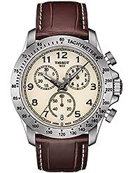 Tissot V8 T106.417.16.262.00 Ivory / Brown Leather Analog Quartz Mens Watch