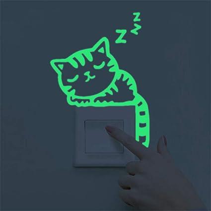 Decoracion de muebles, BaZhaHei, Etiqueta engomada linda de la pared del interruptor del resplandor noctilucente luminoso del gatito creativo casero ...