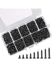 Zelftappende schroeven Set 450 stuks Zwart zelftappende ronde kop Schroevenset Kop Microschroeven met opbergdoos voor plastic hout Zacht metaal