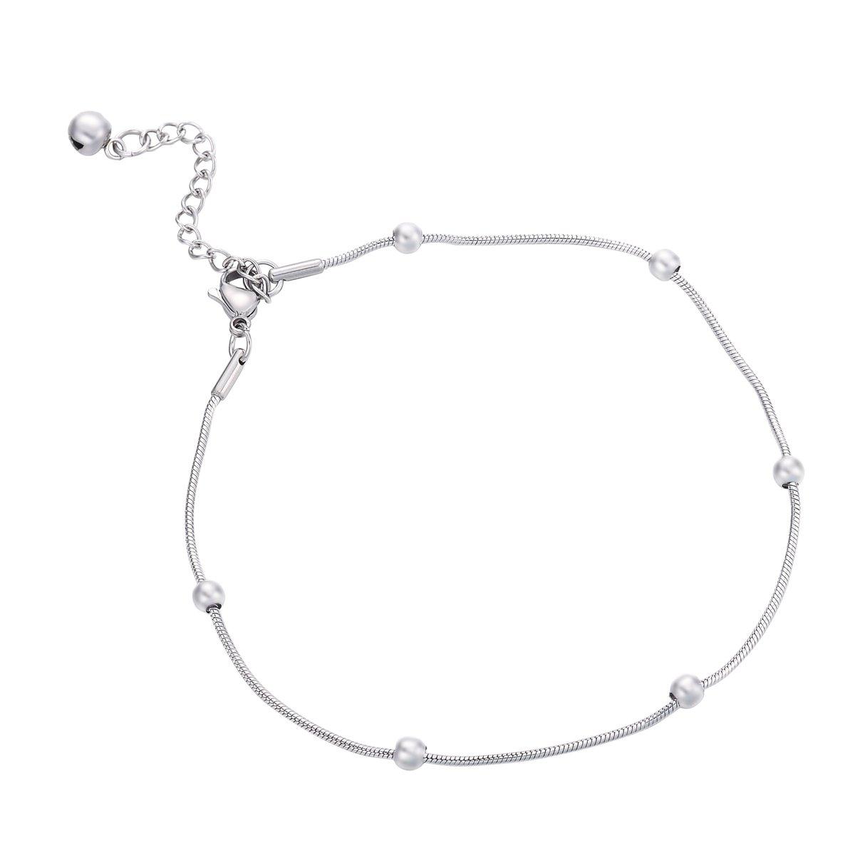 HooAMI Bracelet de Cheville Femme Acier inoxydable Perle Ronde Avec Fermoir de Homard et Petit Grelot Charme Bijoux pour Femme 22cm TY BETY120828