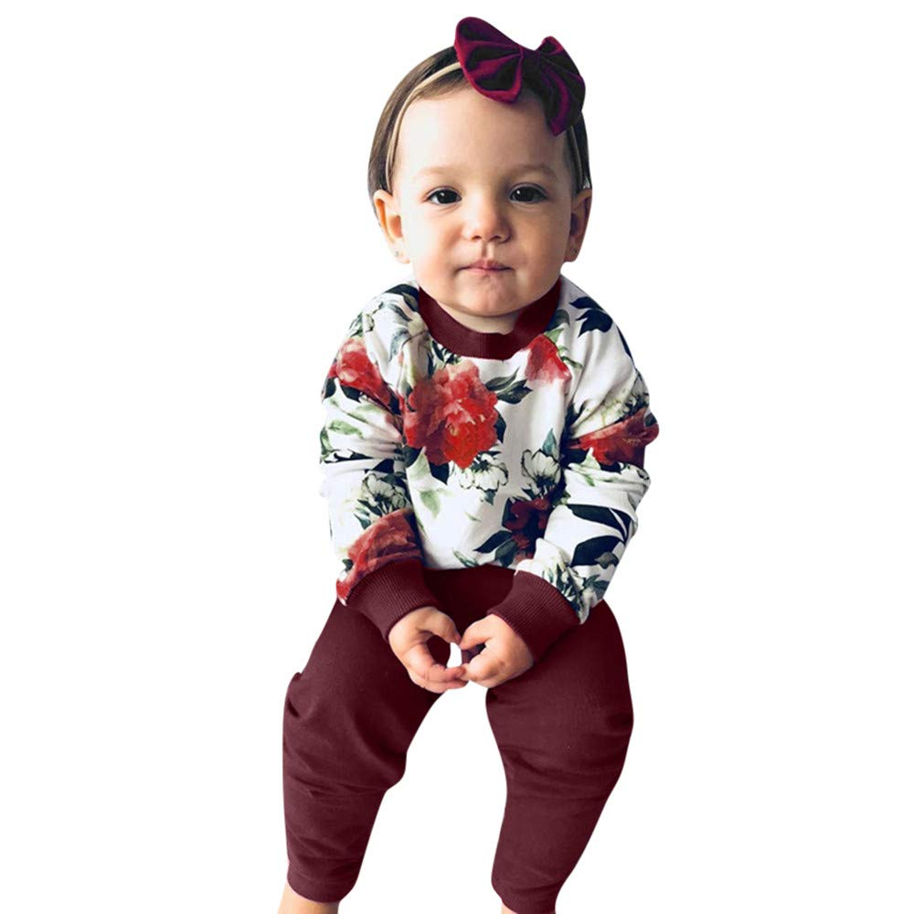 NUWFOR Infant Baby Girls Long Sleeve Floral Print Tops+Pants+Headband Outfit Clothes(Wine,18-24Months