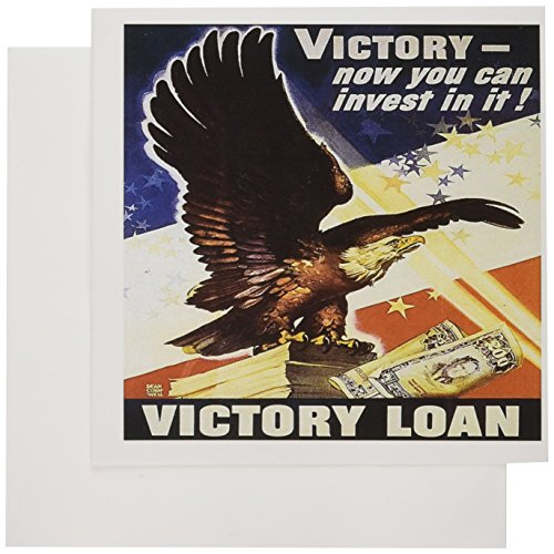 - 3dRose Vintage Victory Loan with American Eagle Advertising Poster - Greeting Cards, 6 x 6 inches, set of 12 (gc_149438_2)