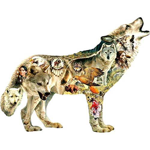 (Native American Wolf 750 pc Shaped Jigsaw Puzzle by SunsOut)