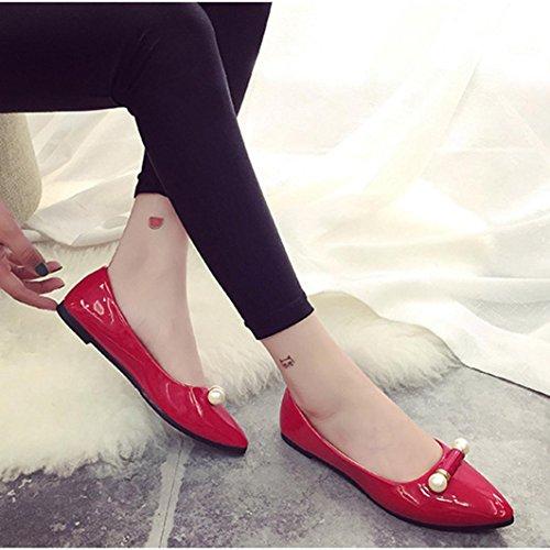 vovotrade Rojo Moda Ladie Casual Shoes Mujer embarazada Perlas Breathable plana zapato