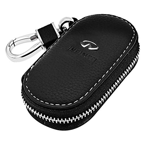 VILLSION Universal Car Key Holder Genuine Leather Case with Stainless Steel Hook Remote Key Fob Case with Metal Zipper Keychain Suit for Men Women, -