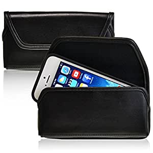 Turtleback Horizontal Apple iPhone 4 and 4s Phone Pouch Holster Belt Clip Case, Magnetic Closure - Made in the USA (Black Leather / Rotating Clip)