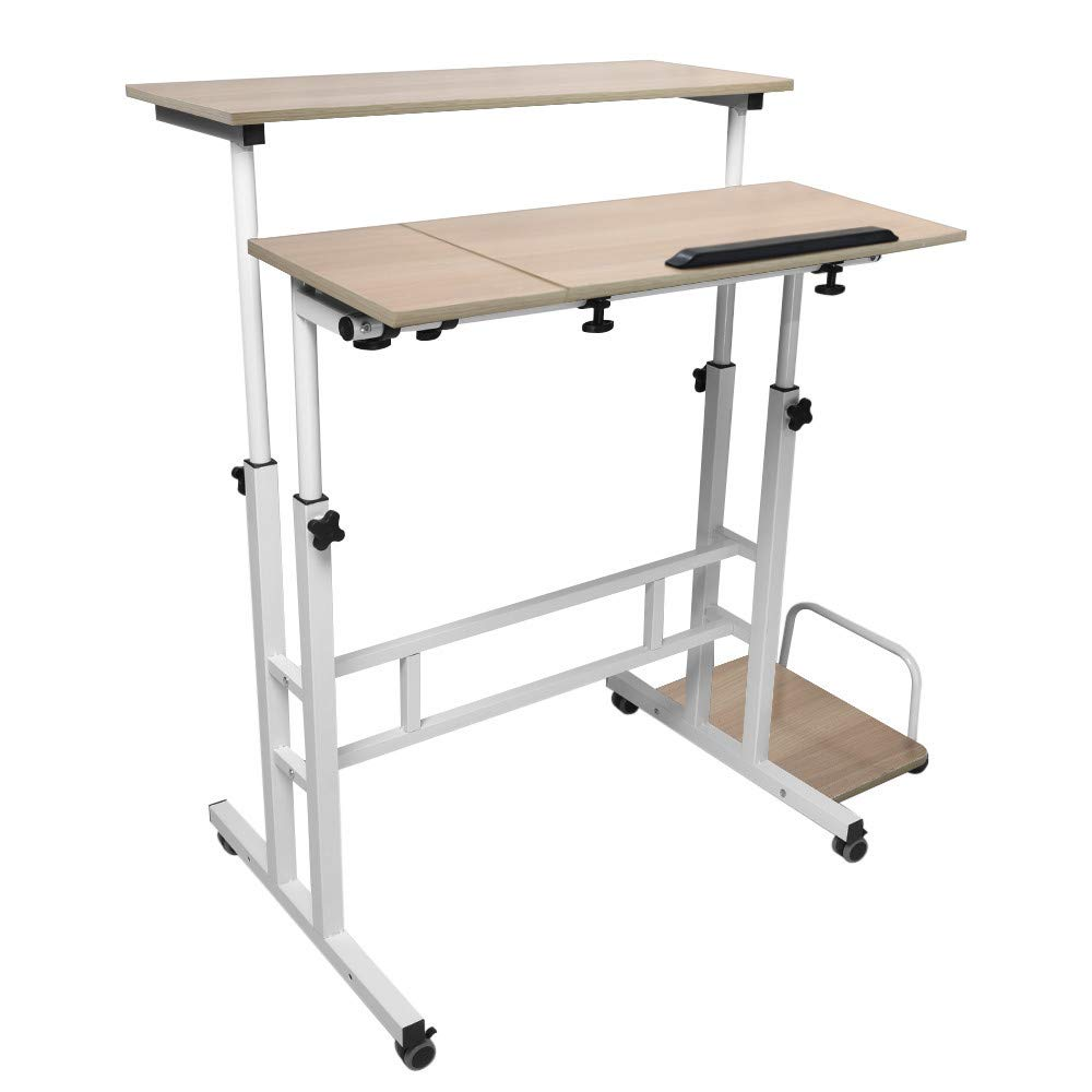 C-Easy Lifting Folding Computer Desk Home Office Desktop Upgrade Laptop Table Study, Easy to Install (Yellow) by C-Easy