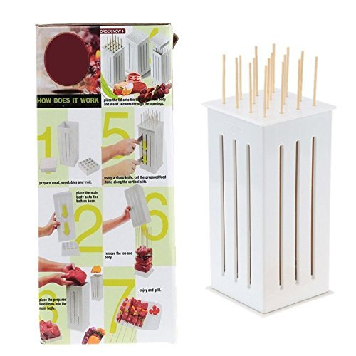 Kitchen Accessories BBQ Brochette Maker Tool Kabob Skewers Spiedini Shish Kebab Pincho Arrosticini Maker For 16 Skewers At Once by ZJIN (Image #3)