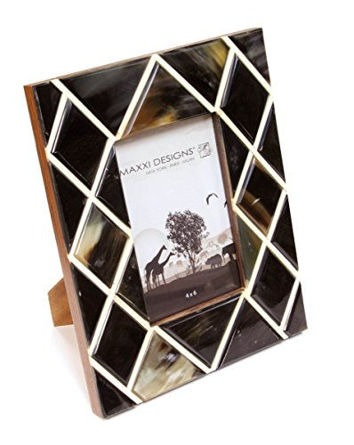 Design Resin Photo Frame (Maxxi Designs Safari Gava Horn & White Resin Photo Frame with Easel Back, 8