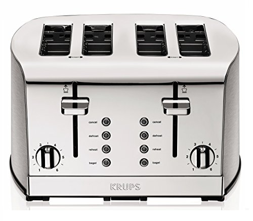 KRUPS KH734D Breakfast Set 4-Slot Toaster with Brushed and Chrome Stainless Steel Housing, 4-Slices with Dual Independent Control Panel, Silver ()