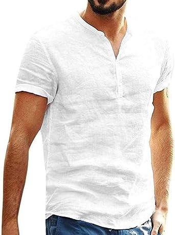 Camisa De Lino De Manga Corta para Hombre Soporte De Cuello Botón Corto Camisa Casual con Cuello En V: Amazon.es: Ropa y accesorios