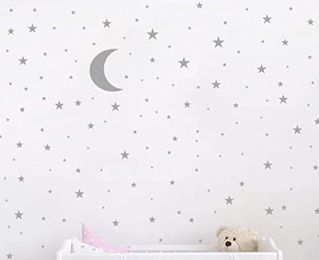 Matte Gold JURUOXIN Moon and Stars Wall Decal Vinyl Sticker for Kids Boy Girls Baby Room Decoration Good Night Nursery Wall Decor Home House Bedroom Design YMX16