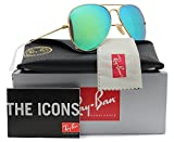 Ray-Ban RB3025 Aviator Sunglasses Matte Gold w/Green Mirror (112/19) 3025 58mm Authentic
