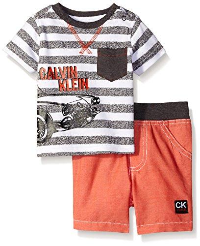 Calvin Klein Baby-Boys Printed Distress Stripes Interlock Top and Woven Shorts, Peach, 0-3 Months
