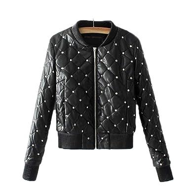 HYDSFG Leather Jacket Women Black Bomber Lozenge Winter ...