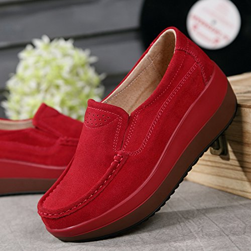 Z.SUO Women's Casual Comfortable Suede Loafers Thick Heel Shoes Red.2 fATZ2IG2mC