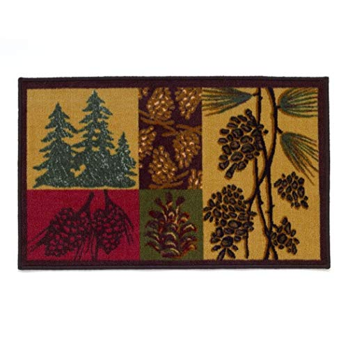 (1 Piece 20 x 30 Brown Green Red Yellow Beige Wildlife Woodsy Pine Tree Bath Rug Rectangle, Indoor Vivid Floral Pinecone Carpet Mat, Motif Pattern Nature Forest Leaves Hunting Cabin Cottage Nylon)
