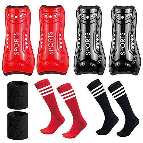 LITA Youth Soccer Shin Guards-2 Pair 3 Sizes Shin Pads Child Perforated Breathable & Protective Calf Gear for 3-15 Years Old Teenagers (Red&Black-M, M) ()