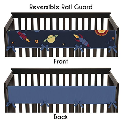 Rocket Ship Space Galaxy Front Rail Guard Crib Cover Baby Te