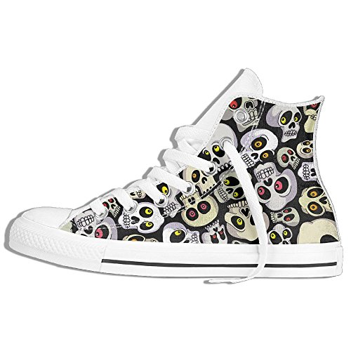 Classic High Top Sneakers Canvas Shoes Anti-Skid Skull Pattern Casual Walking For Men Women White p4dM8wbB22