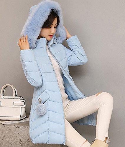 Misschicy Larga Azul mujer Abrigo para Manga 1wUxAwTqS