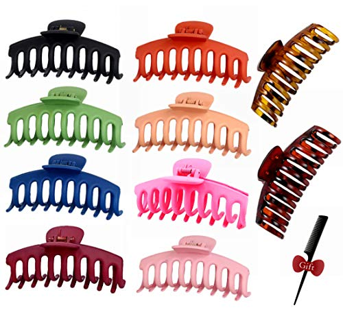 10pcs Big Hair Claw Clips, GetALift 2021 Upgraded Nonslip Matte Claw Clips for Women/Girls Strong Hold Thick Long Curly Hair with Fashion Accessories Hair Comb (10 colors/pack)
