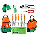 buy UKOKE Garden Tool Set, 12 Piece Aluminum Hand Tool Kit, Garden Canvas Apron with Storage Pocket, Outdoor Tool, Heavy Duty Gardening Work Set with Ergonomic Handle, Gardening Tools for women men now, new 2020-2019 bestseller, review and Photo, best price $34.98