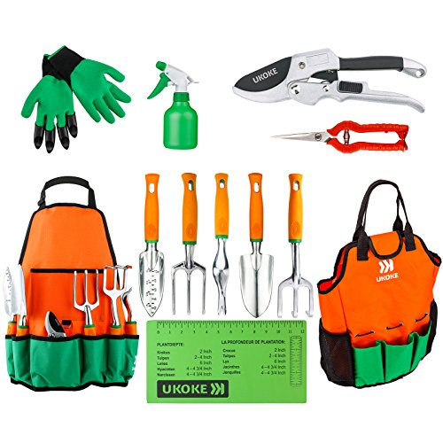 UKOKE Garden Tool Set 12 Piece Aluminum Hand Tool Kit Garden Canvas Apron with Storage Pocket Outdoor Tool Heavy Duty Gardening Work Set with Ergonomic Handle Gardening Tools for women men