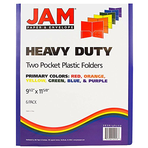 JAM Paper Plastic Heavy Duty Plastic 2 Pocket School Presentation Folders - Assorted Primary Colors - 6/pack by JAM Paper (Image #2)