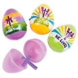 Set of 12 Religious Plastic Easter Eggs with Cross Inside