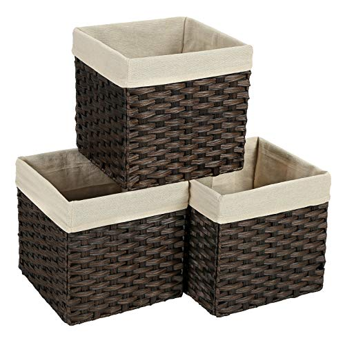 SONGMICS Set of 3 Rattan-Style Storage Baskets Bins, Storage Cubes, Indoor Collapsible Toy Organizer, 27L Decorative Bins with Liner and Handles, Bedroom Closet Laundry Room, Brown URRB130BR (Rattan Bins)
