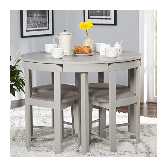 """Target Marketing Systems Zuma Collection Compact Set 5-Piece Round Nesting Dining Table & Chairs, Gray - Compact Dining Set: The Zuma Collection 5 Piece Nesting Dining Set Has A Chair Dimension Of 16.5"""" W x 16.5"""" D x 28.75"""" H, Table 41.3"""" W x 41.3"""" D x 29.6"""" H, Assembly Required. Space Saver Design: This Small Dining Table Set Is Made of MDF With Veneer, Rubberwood, Vinyl And Foam With A Gray Finish. Modern Design: This Mid Century Modern Dining Table Set Features A Round Table That Seats Four People And Has Four Angled Upholstered Padded Dining Seats. - kitchen-dining-room-furniture, kitchen-dining-room, dining-sets - 51sWU0mL8CL. SS570  -"""