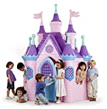 ECR4Kids Jumbo Princess Palace Playhouse, Pink Castle Play House with Turrets and Flags, Full-Sized Door with Musical Doorknob, Indoor or Outdoor Play, Over 8 Feet Tall