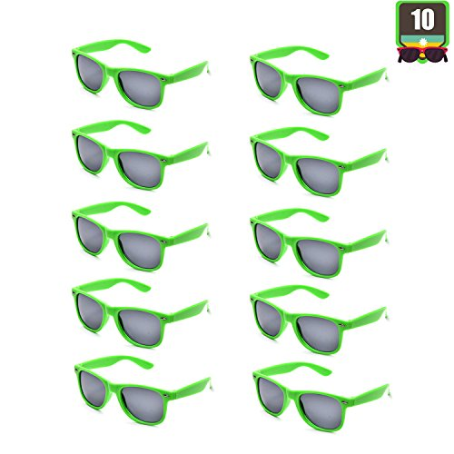 10 Packs Adult and Kids Neon Colors 80's Retro Style Sunglasses (Adult Green) for $<!--$16.99-->