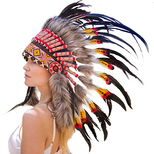Novum Crafts Feather Headdress | Native American Indian Inspired | Multicolored (Indian Chief Headdress For Sale)
