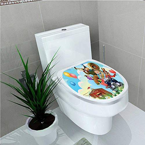 Toilet Sticker Collection Clowns Vintage Car and Circus Big Top Daisies Flowers Heart in Meadow W14 x L14 ()