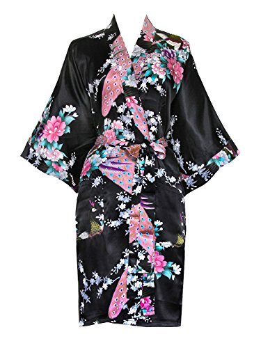 (Old Shanghai Women's Kimono Short Robe - Peacock & Blossoms, Black, One)