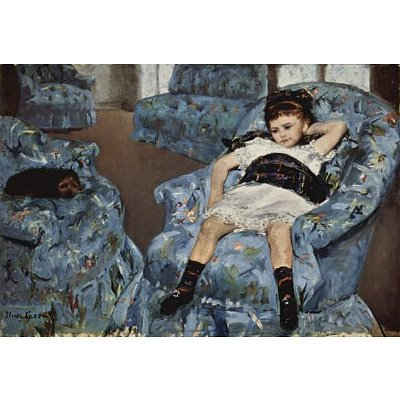 Little Girl in a Blue Armchair painted by Mary Cassatt