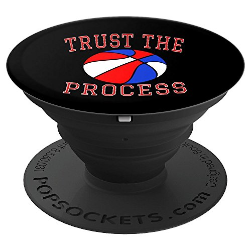 Trust The Process Philadelphia Patriotic Basketball Red Blue - PopSockets Grip and Stand for Phones and Tablets