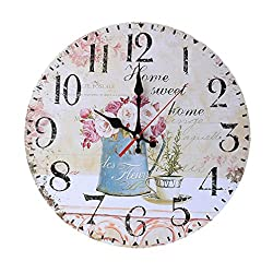 12 Inch Retro Wooden Wall Clock Farmhouse Decor,KingWo Silent Non Ticking Wall Clocks Large Decorative - Big Wood Atomic Analog Battery Operated - Vintage Rustic Colorful Tuscan Country Outdoor (B)