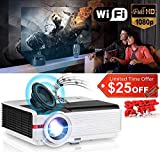 Video Projector WiFi Wireless 4200 Luminous LED LCD Dispaly Max 200', HD Smart Projectors WXGA Home Theater Support 1080p HDMI USB VGA AV iOS Android Miracast Airplay Built-in 10W Speaker