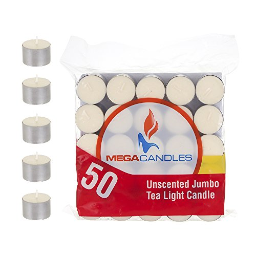 Mega Candles 50 pcs Unscented Ivory Jumbo Tea Lights Candle | Pressed Wax Candles 8 Hour Burn Time | for Home Décor, Wedding Receptions, Baby Showers, Birthdays, Celebrations, Party Favors & More