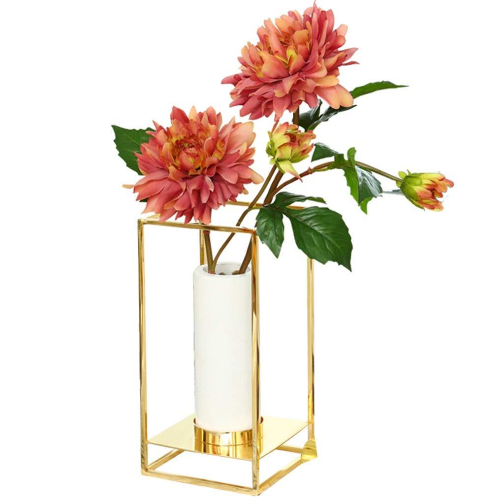フラワーベース花器 花瓶クリエイティブメタルフレームフラワードライフラワーデコレーションデコレーション白大理石の花瓶リビングルームのテーブル家庭用品 (Color : Gold, Size : 14*28cm) B07SCP4LTB Gold 14*28cm
