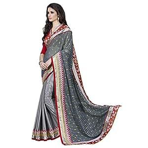 Shilp-Kala Faux Georgette,Jacquard,Satin,Chiffon Border Worked Grey Colored Saree SKN86016B