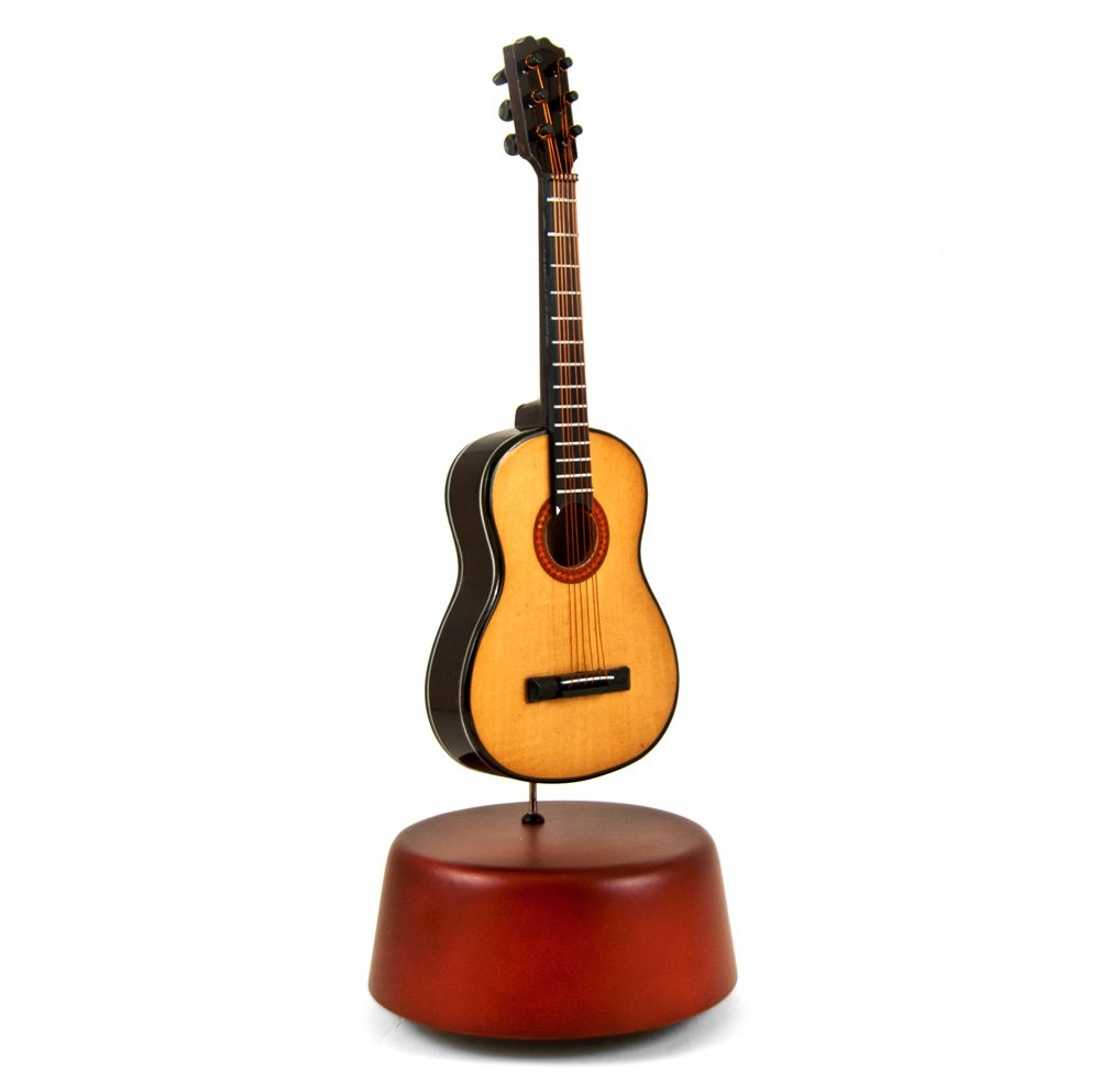 Amazing 18 Note Miniature Acoustic Guitar With Rotating Musical Base - Diamond's Are A Girls Best Friend - SWISS