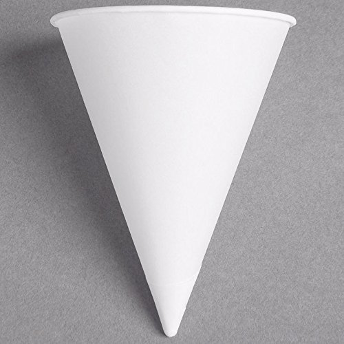 Dart Solo 8RB-2050 Bare Eco-Forward 8 oz. White Rolled Rim Paper Cone Cup with Poly Bag Packaging - 250/Pack by Dart Solo