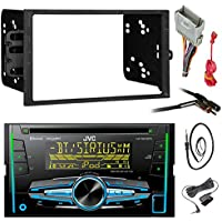 JVC KW-R920BTS Double DIN Bluetooth Car Stereo Receiver CD Player Bundle Combo With Metra installation kit for car stereo (Fits Most GM Vehicles) + Wire Harness + Enrock 22 Radio Antenna With Adapter